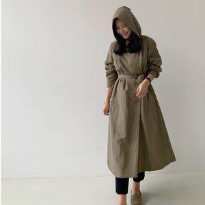 Jackets & Blazers - Getnly worn khaki hooded coat/long jacket